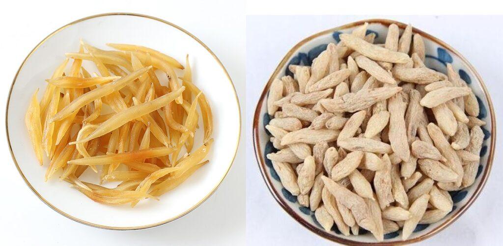 天冬 (左) 配搭麥冬 (右) 可養陰潤肺,益胃生津,清心除煩。